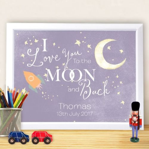 Personalised the Moon and Back Poster Frame